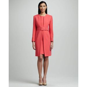 Women's Albert Nipon Belted Coat & Sheath Dress Set | Opening ...