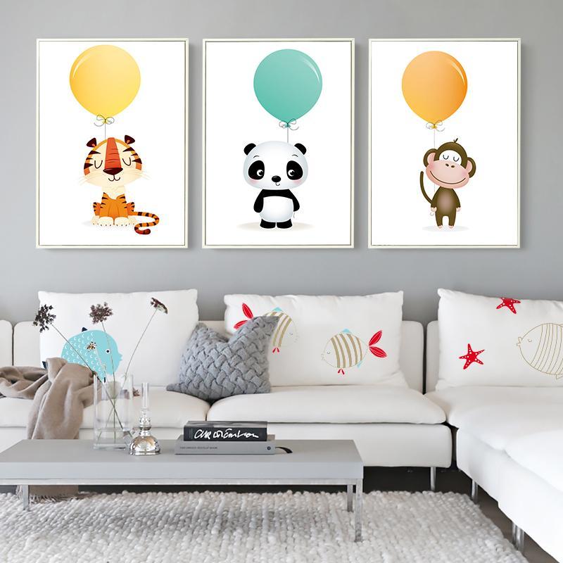 Nordic Minimalist Watercolor Balloon Panda Monkey Tiger