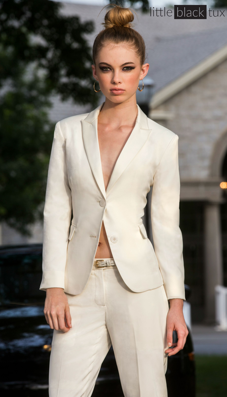 Women\'s Ivory Diamond White Tuxedo / Ladytux. Shawl Collar, slim fit ...