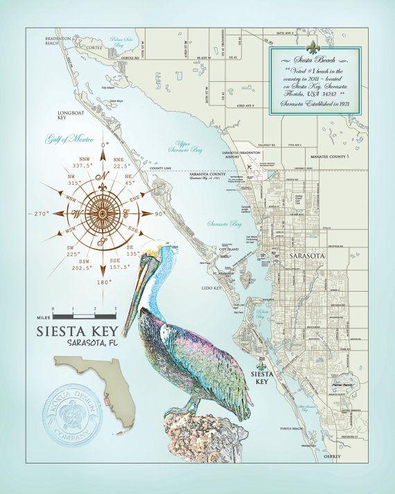 Siesta Key Florida Map.Sarasota Siesta Key Area 11 X14 Artistic Map Products