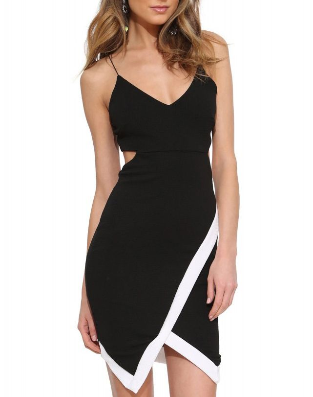 robe dos cut out à bretelle -Noir  13.24