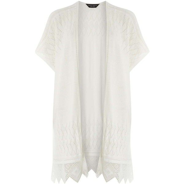 Dorothy Perkins Ivory Kimono (€26) ❤ liked on Polyvore featuring intimates, robes, white, white lace robe, white kimono, kimono robe, lace kimono and lace robe