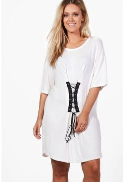 8b6864c8af480 Plus Gerogina Corset Detail T-shirt Dress