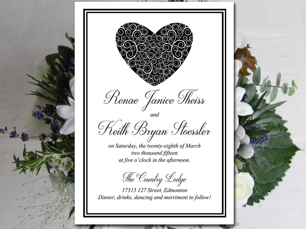 Diy wedding invitation template download printable invitation diy wedding invitation template download printable invitation swirled heart classic black heart solutioingenieria