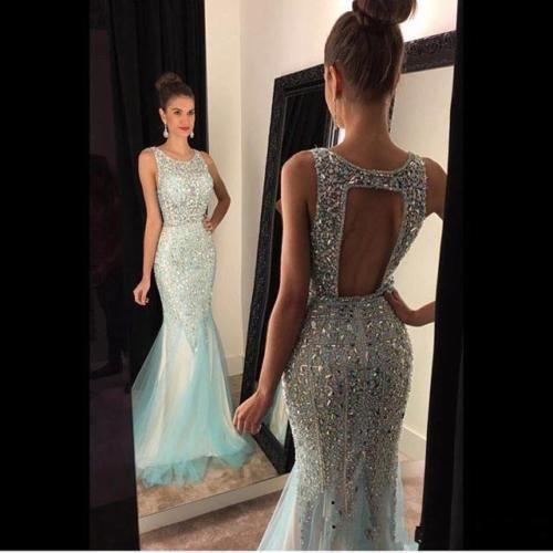 New Mermaid Beaded Long Evening Dress Formal Pageant Prom Party Ball Gown Custom #parisbaby888 #BallGown #Formal