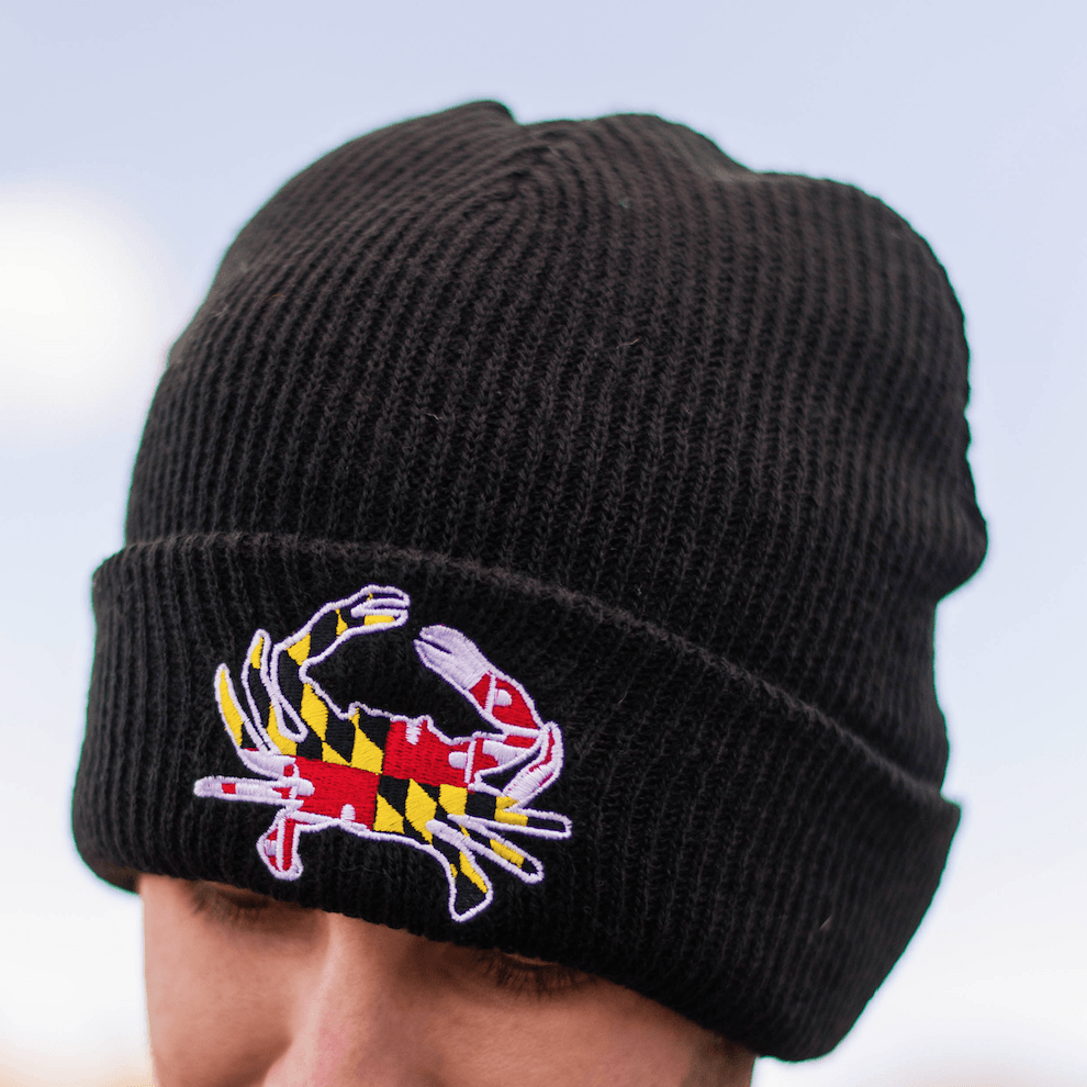 Embroidered Maryland Full Flag Crab (Black)   Slouchy Knit Beanie Cap   Beanies-+-Ski-Hats  bulk-hide  Maryland e10867170d7