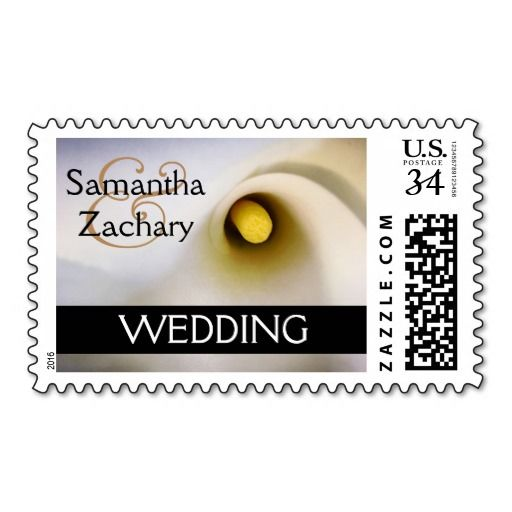 Personalized calla lily wedding postage stamps. Completely customizable (names and other text, fonts, colors, etc). Other matching products available for am entire invitation and party goods ensemble. #calla #lily #callalily #wedding #postage #stamps