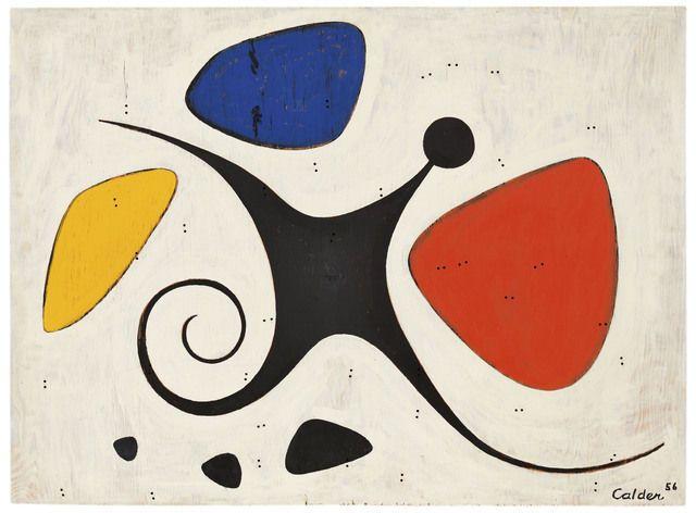 Alexander Calder Santos 1956 Oil On Plywood Alexander Calder