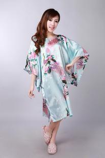 34c536bcab 2016 Short Long Sleeve Floral Sexy Women Silk Robe Lady Girl Silk Pajamas  Housecoat Nightgowns Loungewear Sleepwear