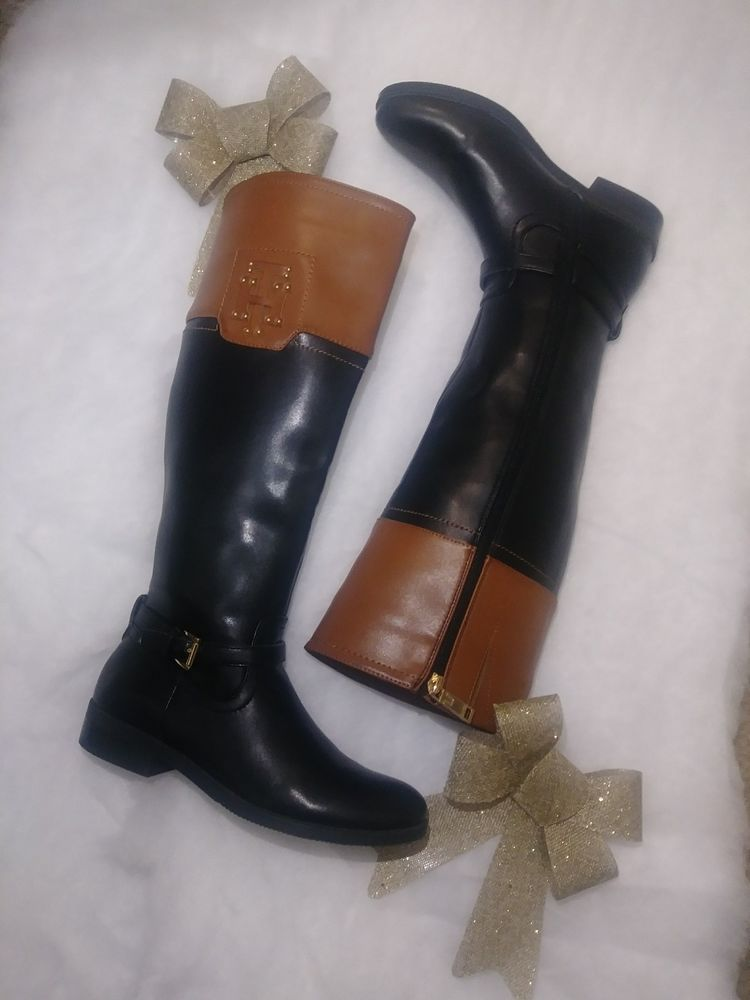 9ee3588d6eb30 Tommy Hilfiger Knee High Blk/brown Riding Boot #fashion #clothing ...