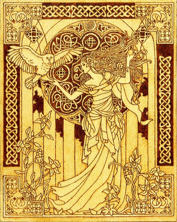 Arianrhod, the Celtic moon goddess beautiful pyrography wall art ...