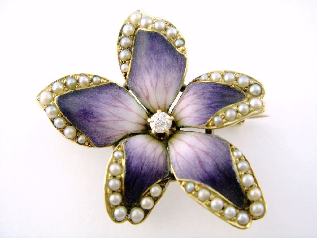 vintage pearl s brooch flower akoya gold ruby valuation violet