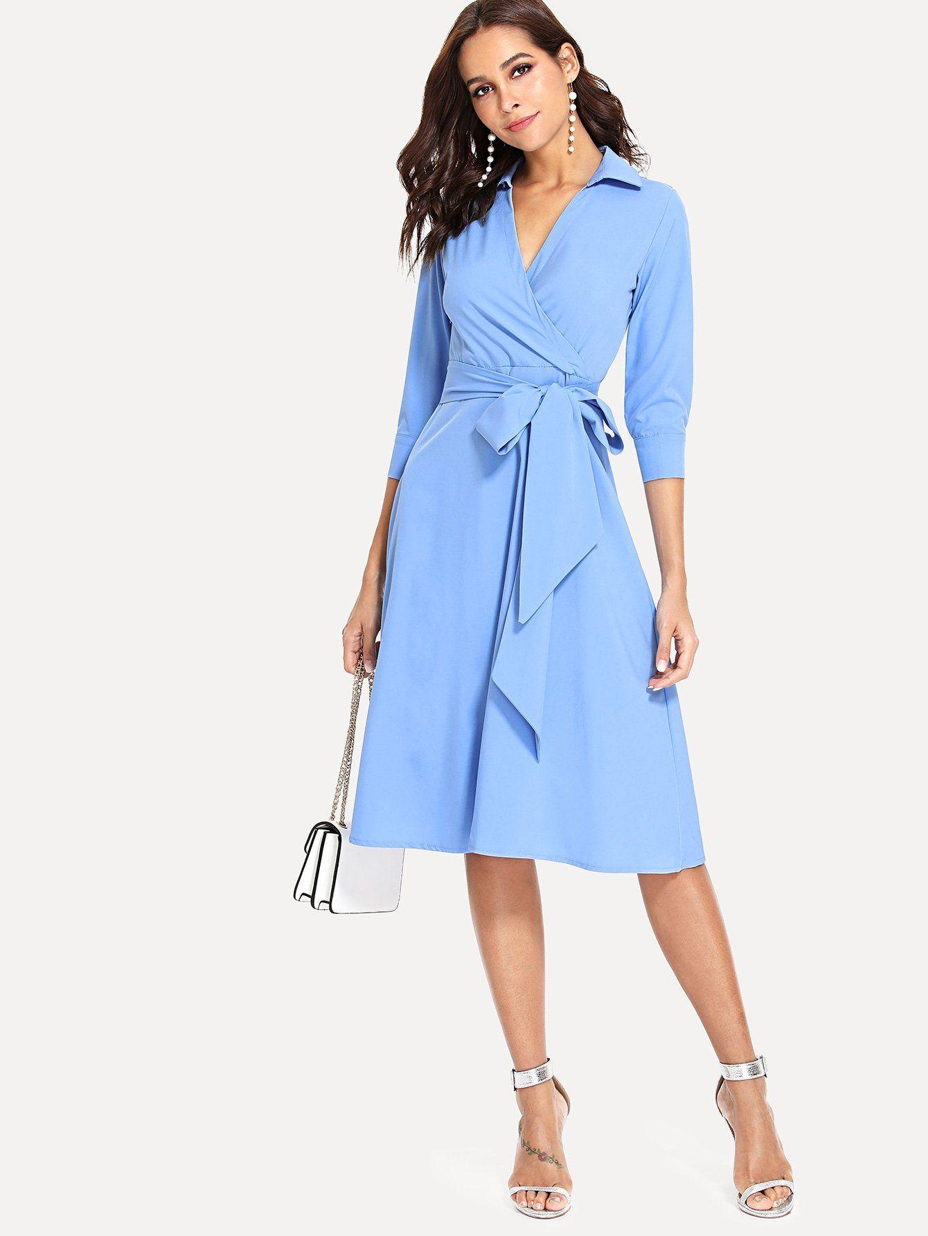 Surplice Wrap Tie Waist Dress Workwear Dress Elegant Midi Dresses Tie Dress [ 1785 x 1340 Pixel ]
