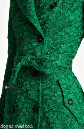 $5 8K Burberry Prorsum Runway Green Lace Trench Coat Jacket