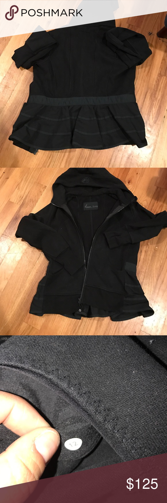 Lululemon peplum zip up size 12 Circa 2013 black lululemon sz 12 peplum hoodie.  Purchased on eBay and way too big on me.  Thought this was a size 8 and tag says 12 lululemon athletica Sweaters Cardigans