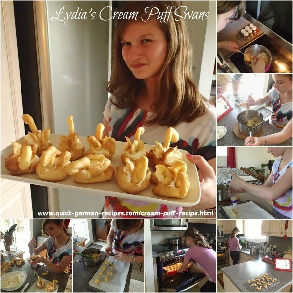 Cream Puff Swans -- easy enough for little kids to help you. http://www.quick-german-recipes.com/cream-puff-recipe.html