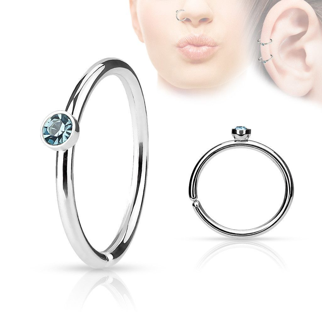 Nose piercing each side  Blue Crystal Annealed Hoop Piercing  Gauge Nose  Cartilage