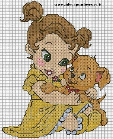 As 3 Artes: Princesas Baby em Ponto Cruz
