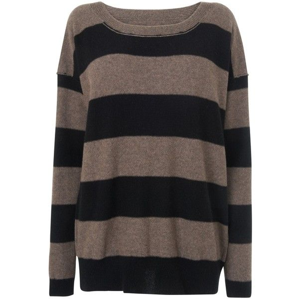 Jaeger Striped Oversized Jumper, Taupe found on Polyvore