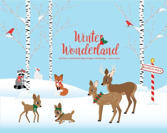 winter wonderland clipart woodland animals winter scene christmas rh pinterest com winter wonderland cartoon free winter wonderland background clipart
