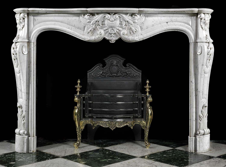 Antique French Louis XVI Rococo Carrara Marble Fireplace Mantel