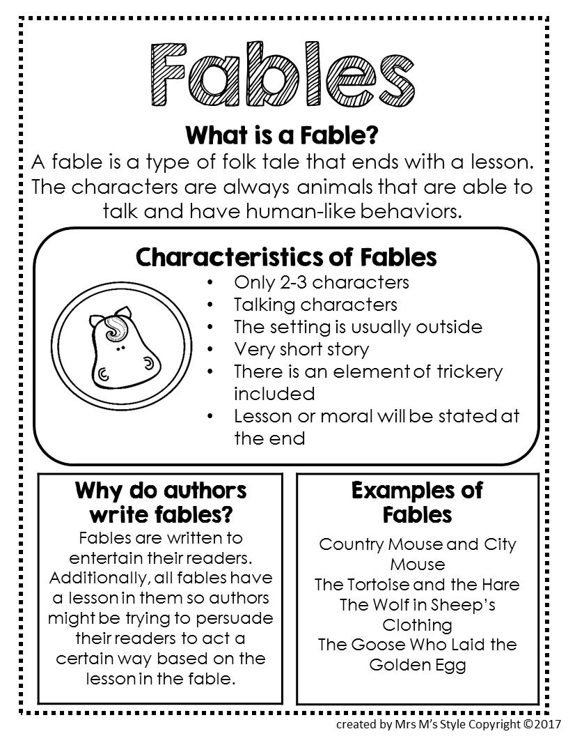 Fables Genre Anchor Chart   Teaching writing [ 1056 x 816 Pixel ]