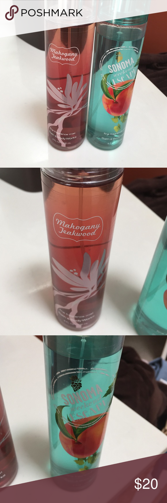 2 B&BW perfumes 2 full size Bath & Body Works perfumes. Mahogany Teakwood is completely full and Sonoma Weekend Escape have been slightly used💜$30 value📦bundle to save📦 PINK Victoria's Secret Other