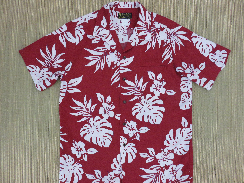 e54fbee0 Mens Hawaiian Shirt ISLAND ALOHA WEAR 80s Vintage Red and White Hibiscus  Mod Tropical Print Surfer Beach Party - L - Oahu Lew's Shirt Shack by ...
