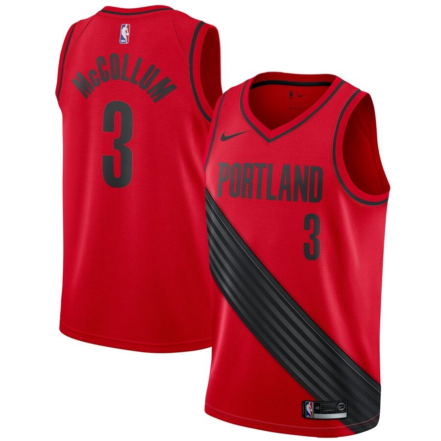 Men S Portland Trail Blazers C J Mccollum Red Jersey In 2020 Trail Blazers Basketball Jersey Basketball