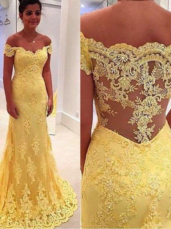 Meerjungfrau Abendkleid Ballkleid - Gelb Off-die-Schulter Sweep Schleppe  mit Spitze 662768de0f27