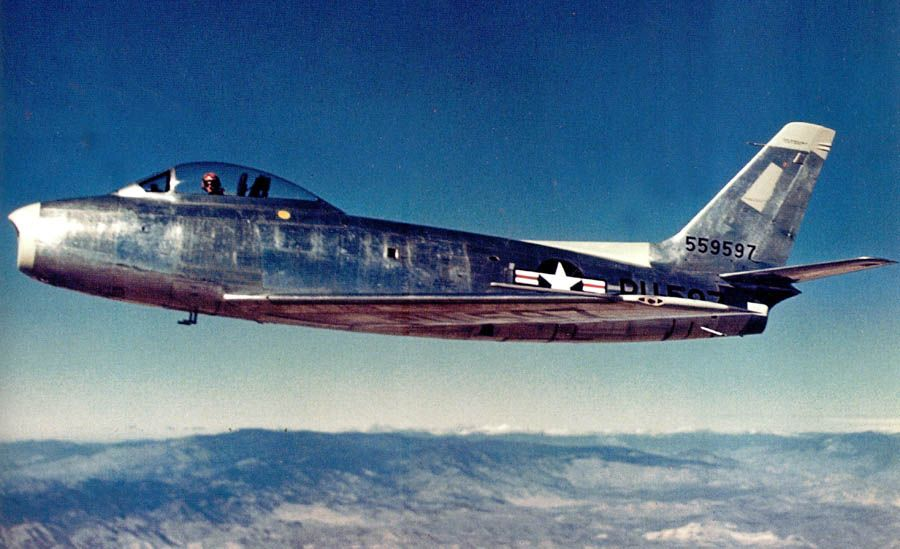 Trenchmints North America Xp 86 During A Test Flight Over Muroc Dry Lake