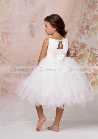 ball gown spaghetti strap kneelength white tulle flower