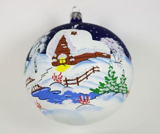 Russian Winter Glass Hand-Painted Christmas Ball Ornament - traditional - holiday decorations - new york - by XmasOrnamentsWorld