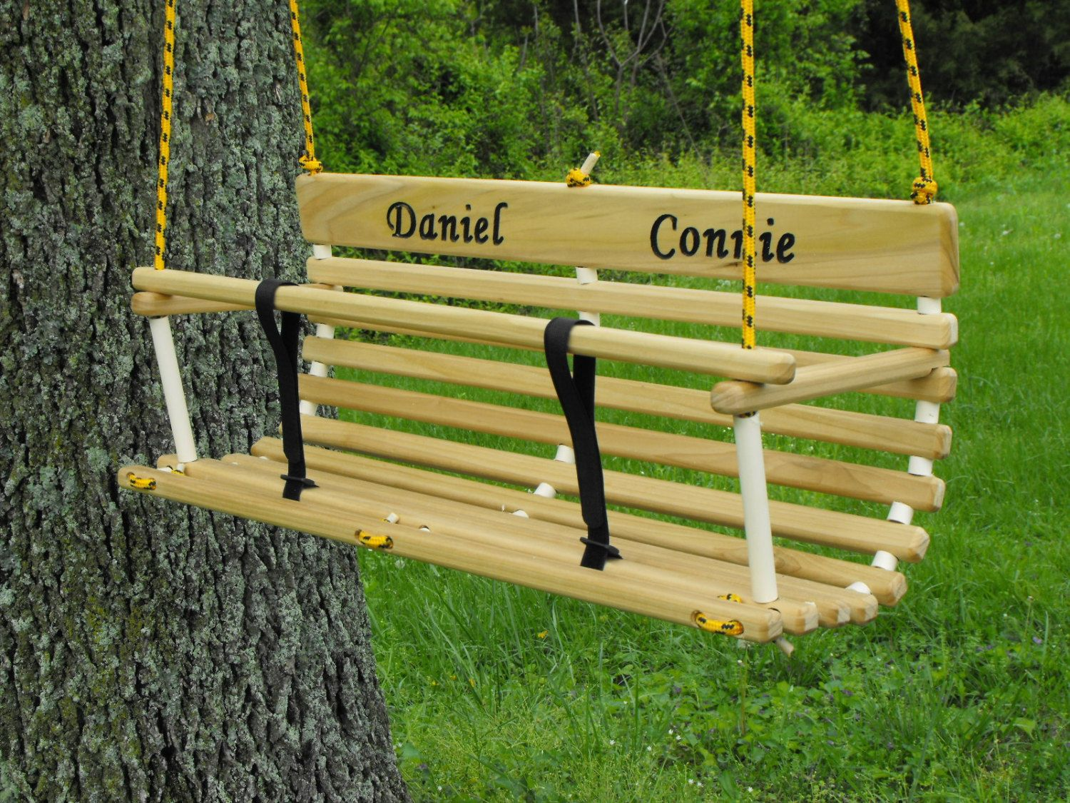 Personalized toddler swing for two twins handcrafted wood swing