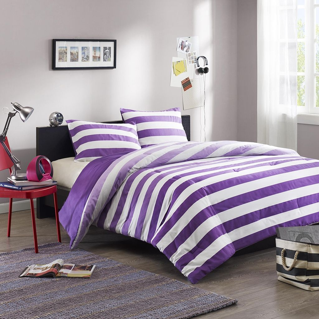 Purple bedding for teenage girls - Peyton Purple Comforter Set Fab Purple Teen Bedding