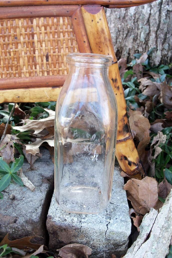 Milk Bottle Late Mid Century Pint Farm Kitchen Find by