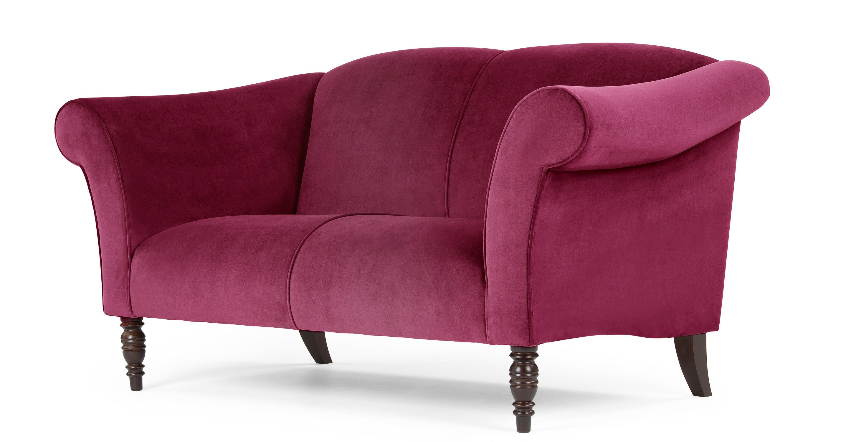 The Garston 2 Seater Sofa In Deep Pink Is An Updated Take On A Classic Silhouette With Images 2 Seater Sofa Retro Sofa Sofa Design