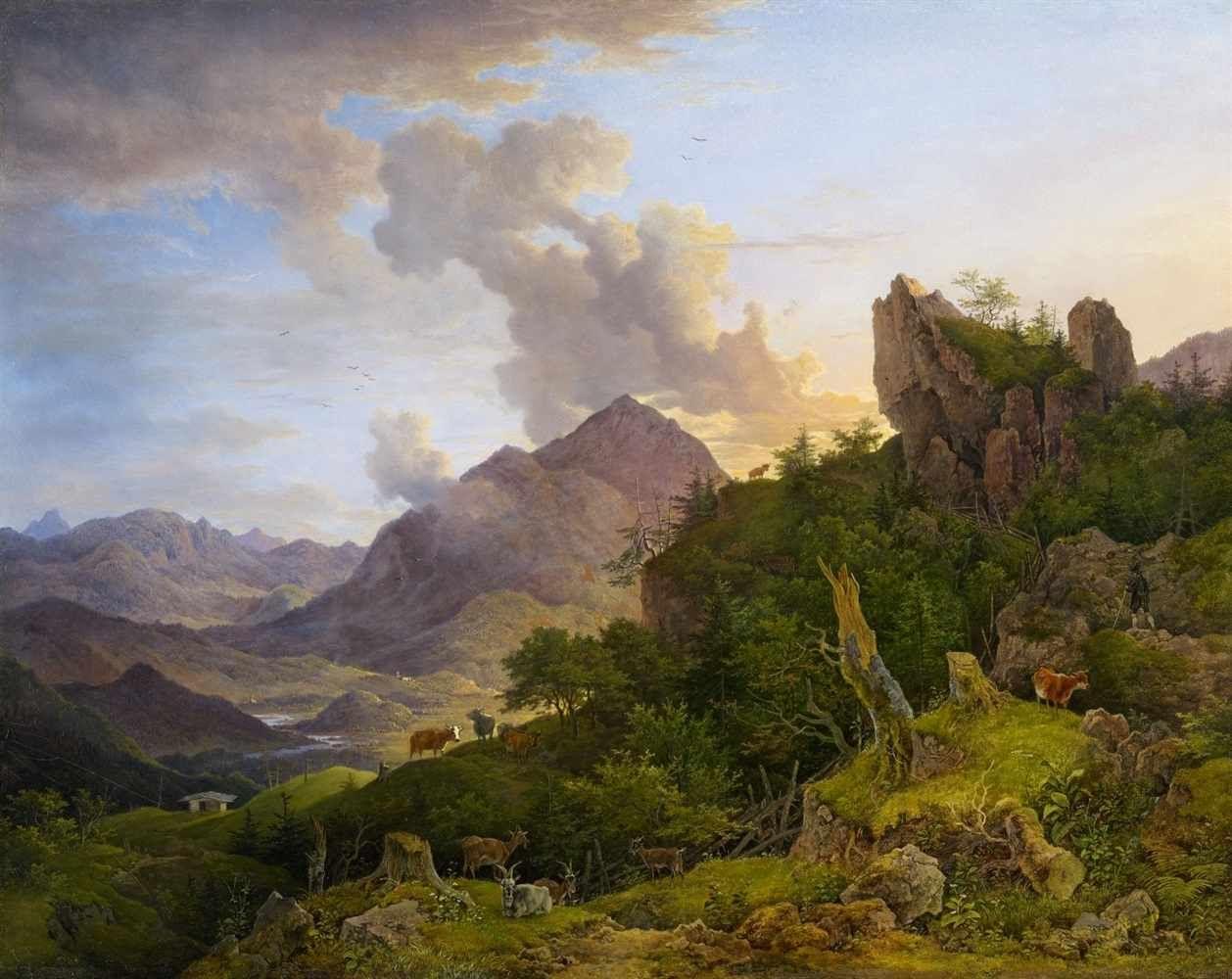 Lot 1506 - Max Joseph WagenbauerGebirgslandschaft bei Oberaudorf mit InntalÖl auf Kupfer. 47,5 x 60,8 cm.