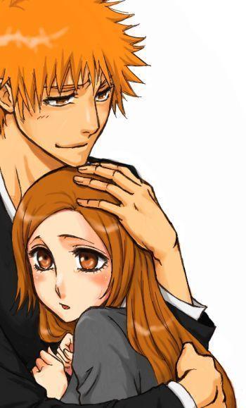 Bleach Couple Hug Inoue Orihime Kurosaki Ichigo Long Hair Orange Hair Spiky Hair 824776 Bleach Anime Bleach Couples Ichigo And Orihime