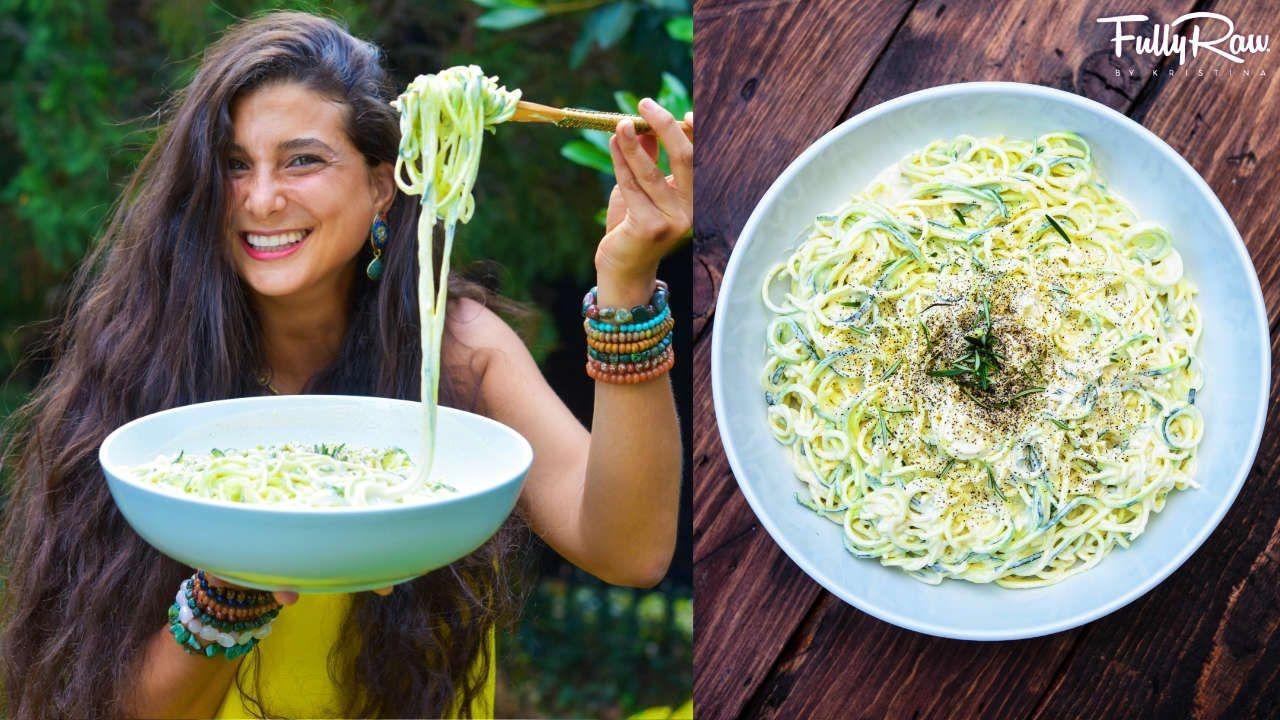 Photo of Creamy Lemon Garlic Pasta Alfredo! FullyRaw & Vegan!