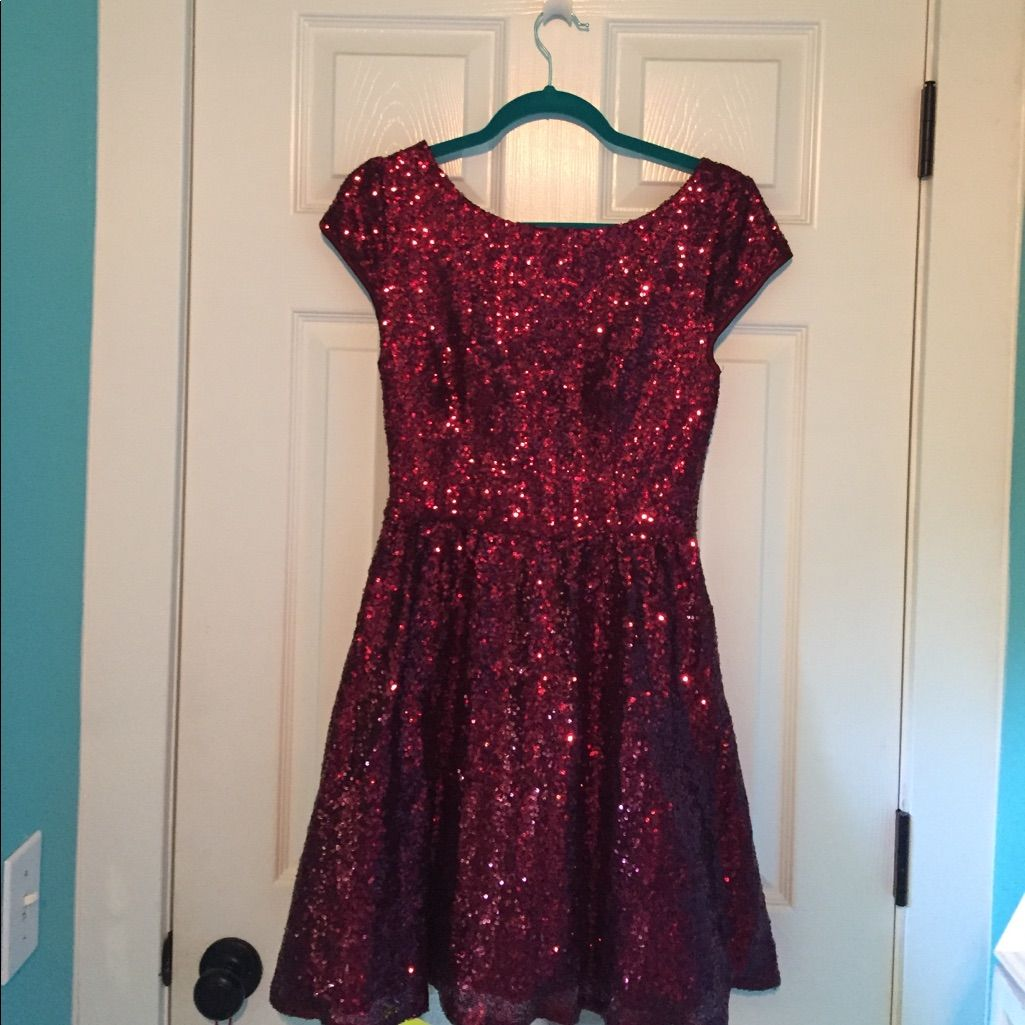 Red sparkly b darling open back dress macyus products