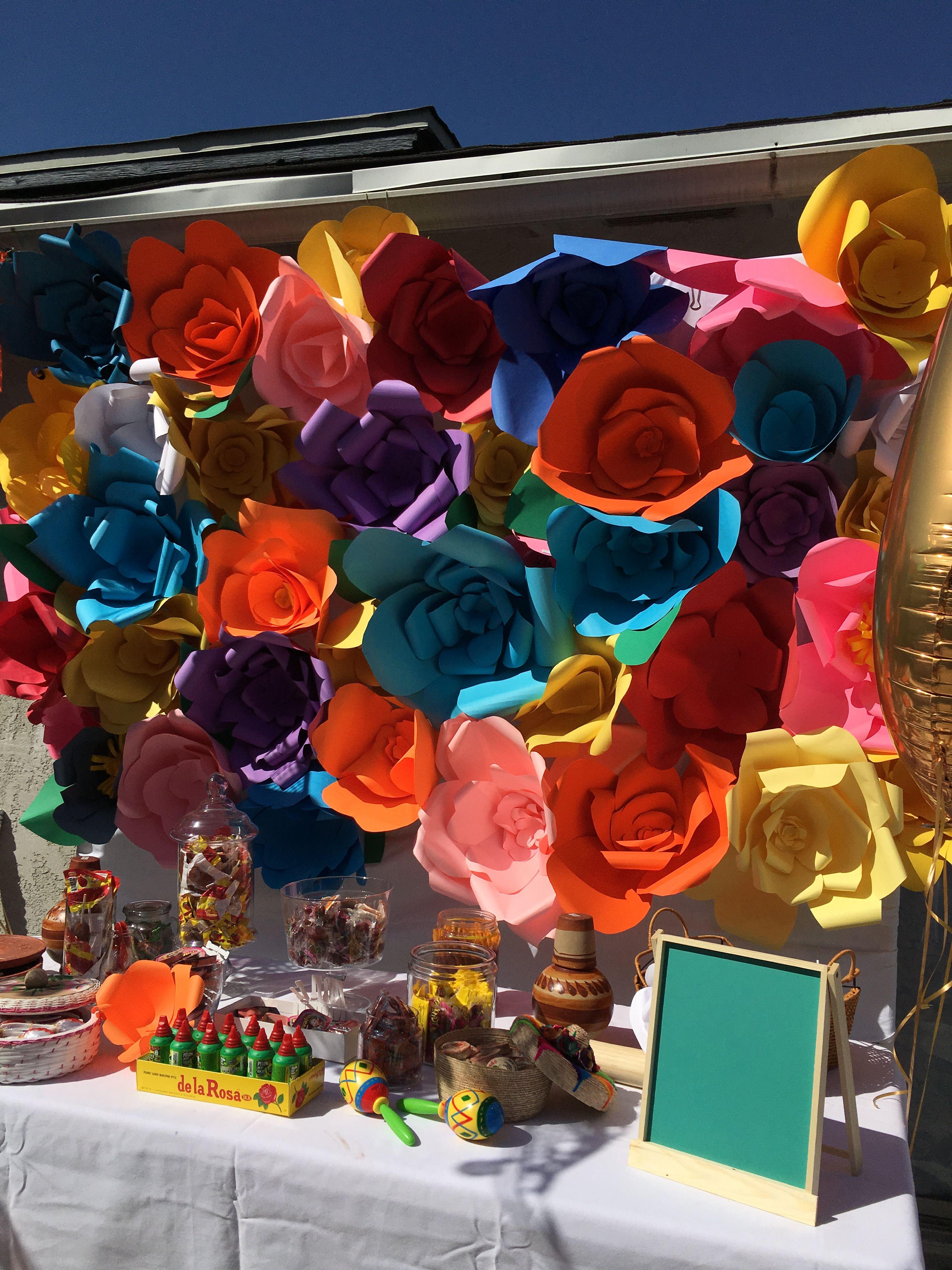 Paper Flower Backdrops For Birthday Wedding Babyshower Celebration Candy Paper Flower Backdrop Flower Backdrop Paper Flowers