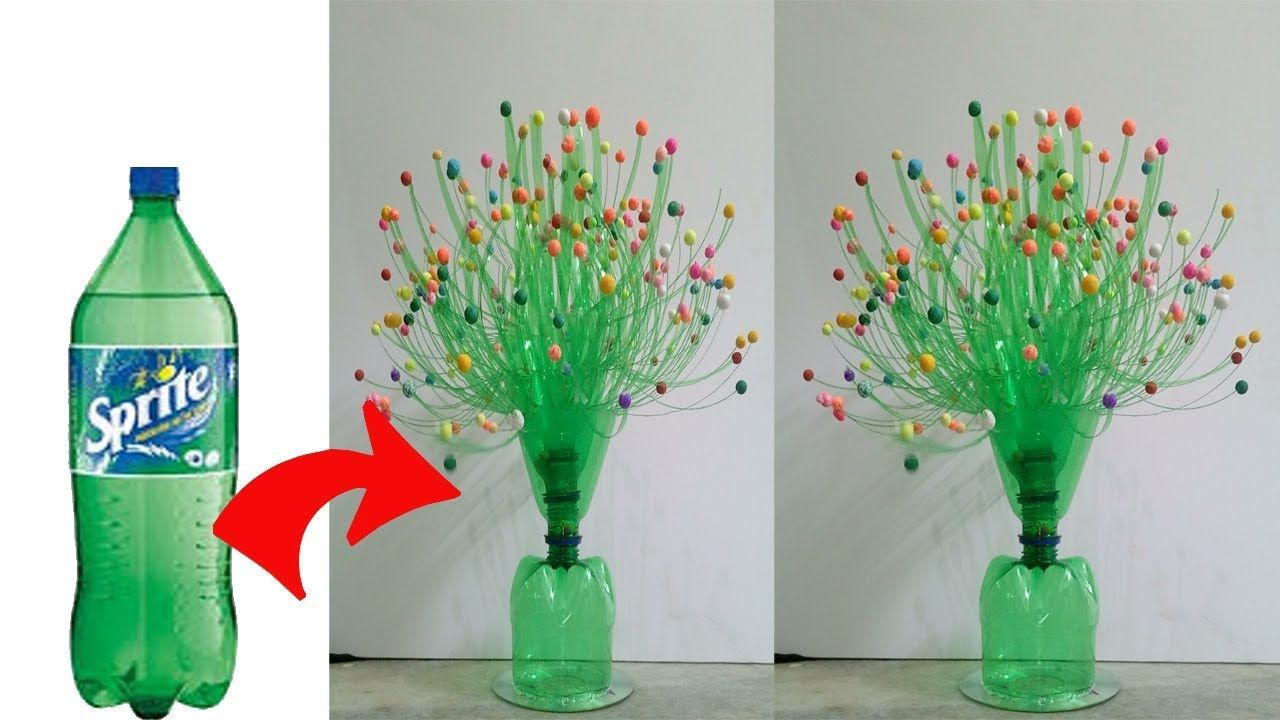 Diy Flower Vase Using With Plastic Bottle Craft Ideas Sk