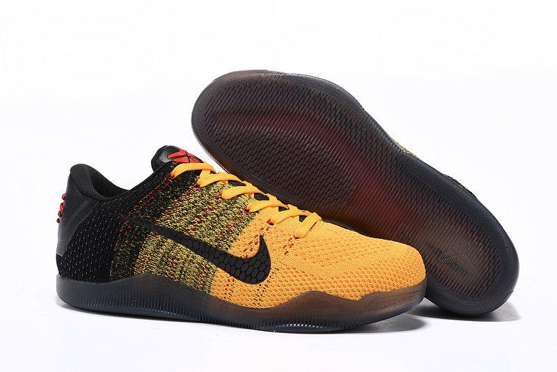 super popular 91fee 5d628 Nike Flyknit Kobe 11 Black Yellow Shoes   Kobe Bryant shoes ...