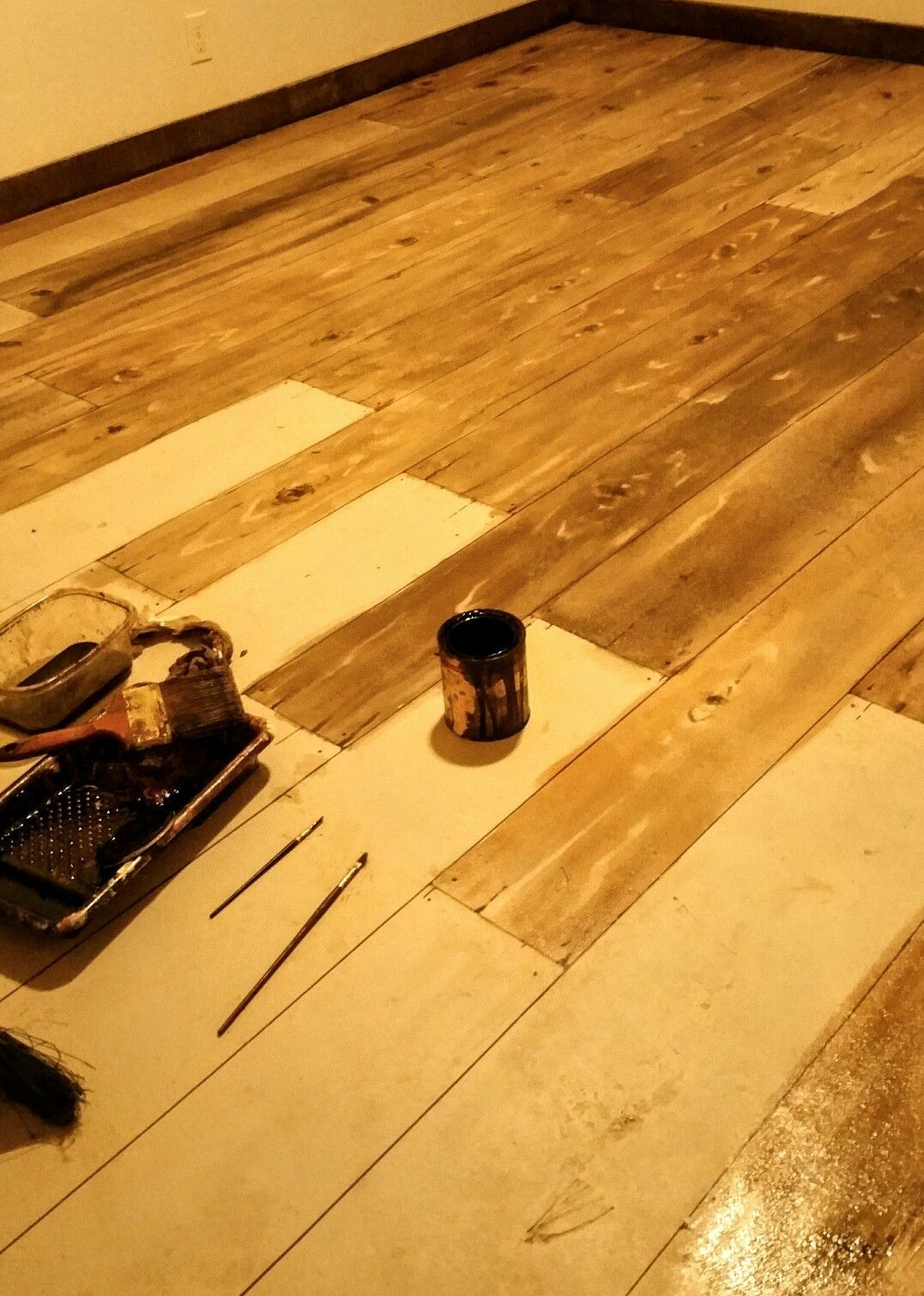 This Is A Concrete Floor Painted To Look Like Wood Using Gel Stain And Graining Tool Small Brushes Are Used Add Detail
