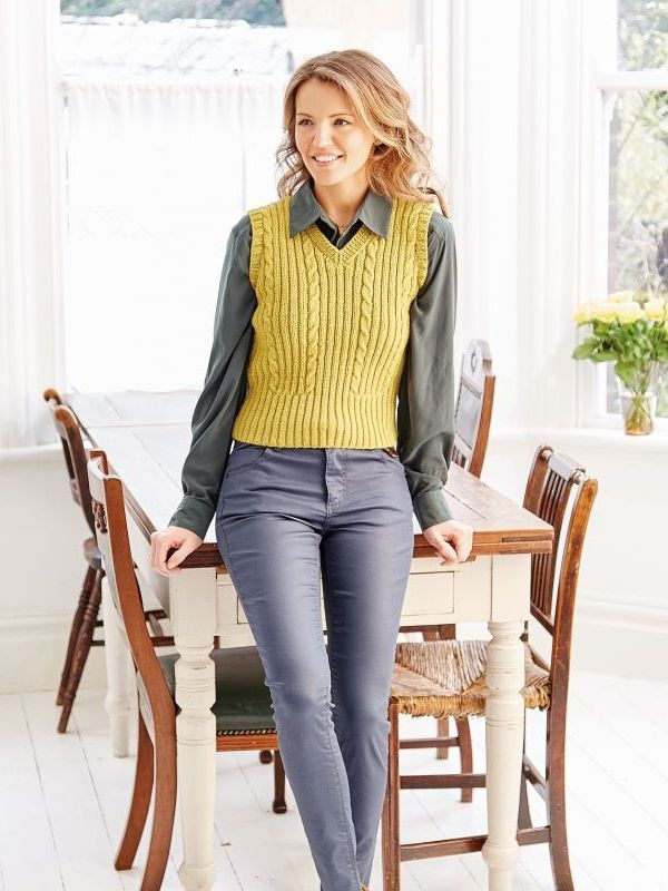 09ae2aa6d V-neck sweater vest knitting pattern  get it at Laughing Hens ...
