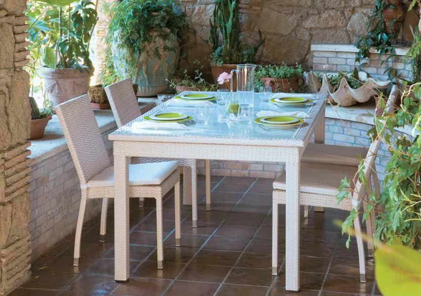 Tavolo polyrattan ~ Set di tavolo e sedie in acciaio e rattan guttuso grigio