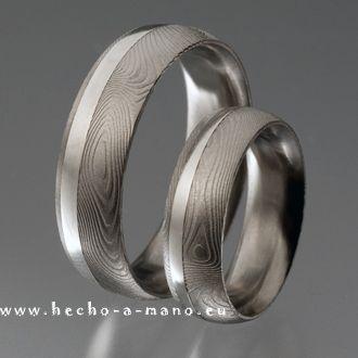 Trauringe hochzeit silber  Damast Trauringe Damia's Ring + Silver Inlay Manufaktur Hecho-a ...
