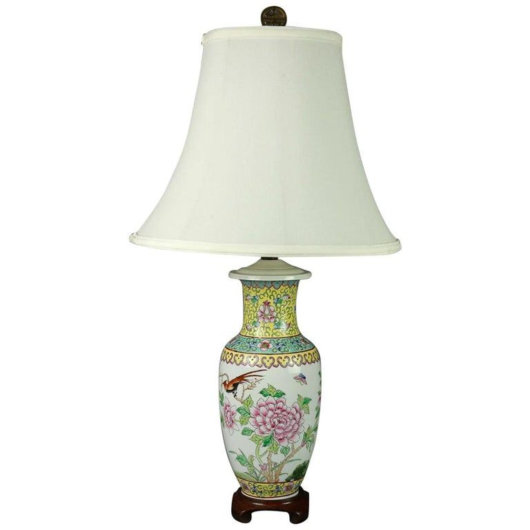 Vintage Chinese Hand Painted Porcelain Floral Garden Vase Table Lamp Vase Table Lamp Hand Painted Porcelain Jar Table Lamp