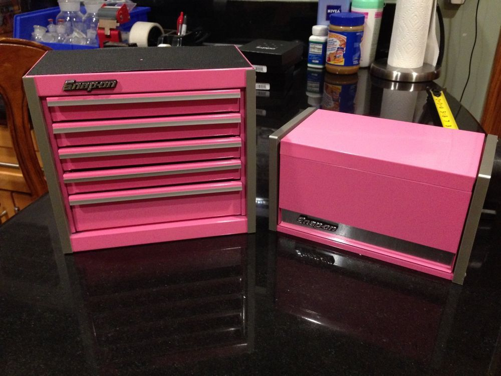 Snap On Pink Mini Micro Tool Box Set Top Chest And Bottom